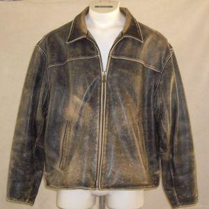 VTG Andrew Marc Distressed Leather Biker Jacket